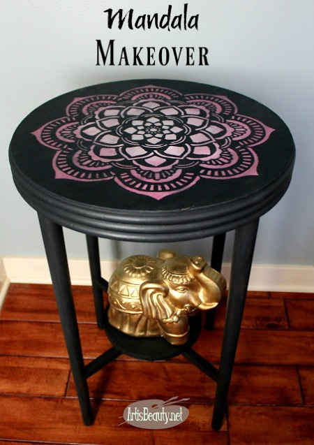 How to Stencil a Mandala Table | Upcycled & Repurosed Thrift Store Makeovers
