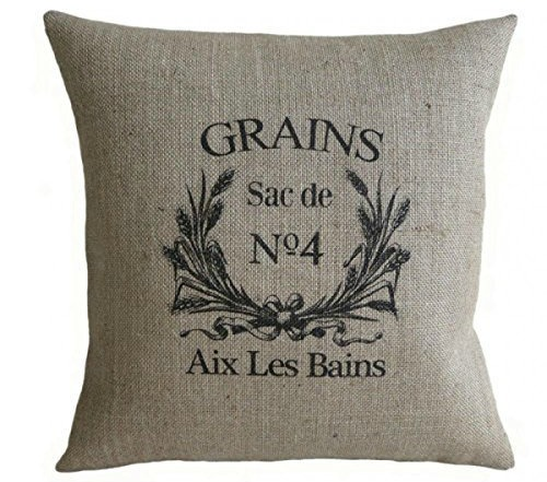French farmhouse grain sack pillow Farmhouse Style Pillows to Make or Buy | www.knickoftime.net