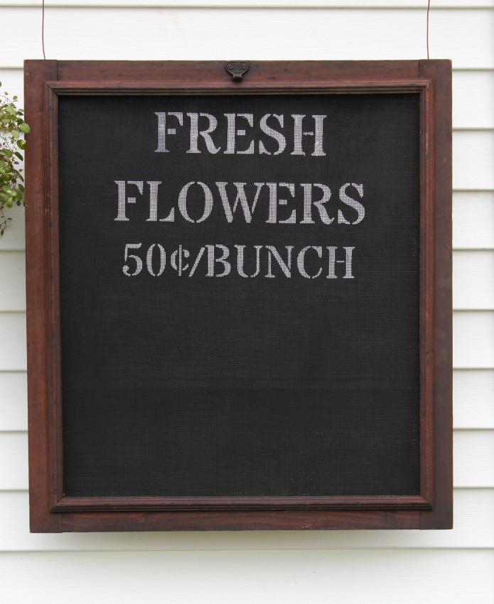 How to Paint a Window Screen Fresh Flowers Sign with Knick of Time's Vintage Sign Stencils | www.knickoftime.net