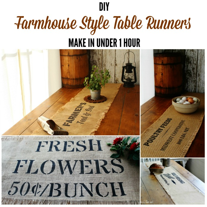 DIY Rustic Burlap Farmhouse Style Table Runners using Knick of Time's Vintage Sign Stencils | www.knickoftime.net