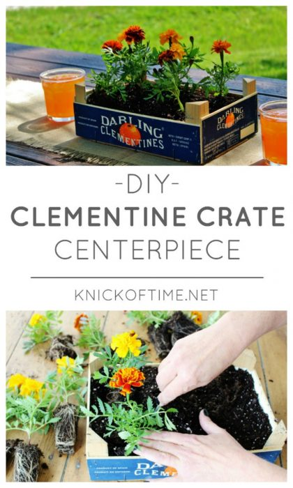 How to turn a clementine crate into a cheery farmhouse style flower centerpiece | www.knickoftime.net