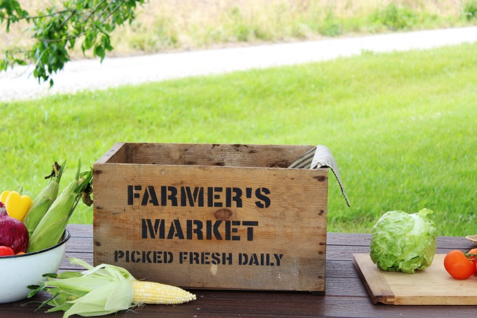 old farmer's market sign rustic wooden vintage fresh homegrown garden fruit and vegetables crate Knick of Time
