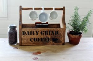 "You won't dread the ""daily grind"" with this Rustic Coffee Shop Wooden Storage Tote 