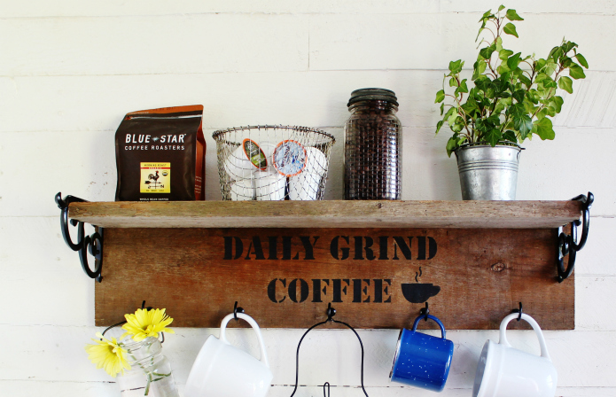 Rustic Reclaimed Wood Farmhouse Style Mug Rack Coffee Station Knick Of Time