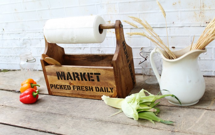 Farmer's Market rustic wood tote paper towel holder madewith Knick of Time's Vintage Sign Stencils | www.knickoftime.net
