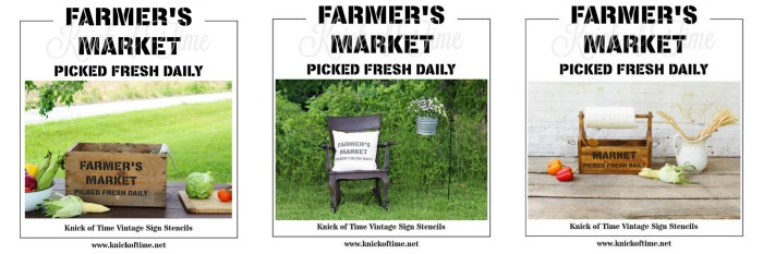Farmer's Market Farmhouse Style Decor | 3 projects using Knick of Time's Vintage Sign Stencils for DIY home decor | www.knickoftime.net