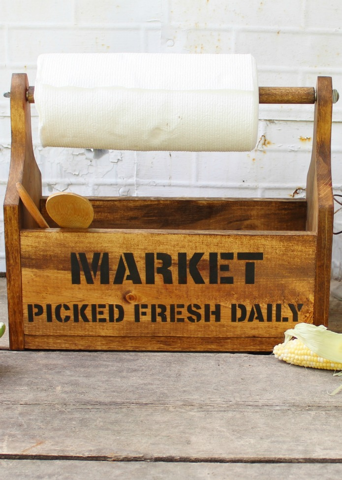 How to make a FARMER'S MARKET wooden kitchen storage tote using Knick of Time's Vintage Sign Stencils | www.knickoftime.net