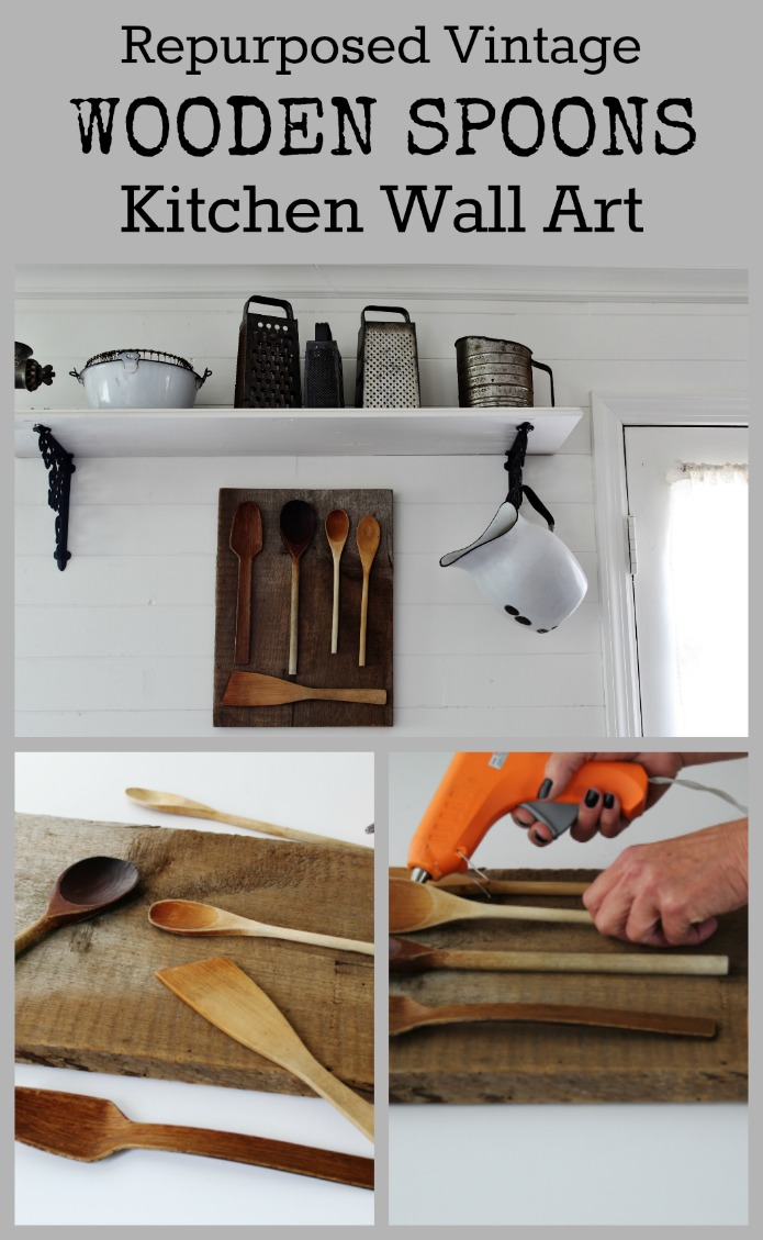 Farmhouse Kitchen DIY wall art made with vintage wooden spoons | www.knickoftime.net