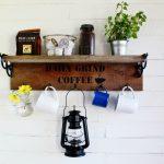 Rustic Reclaimed Wood Farmhouse Style Mug Rack Coffee Station