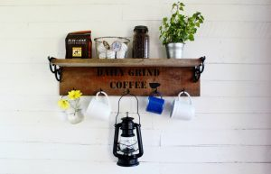 Rustic reclaimed wood farmhouse vintage style mug rack coffee station | www.knickoftime.net