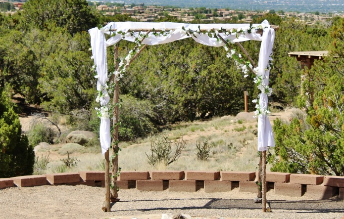 Rustic wood handmade outdoor wedding arch | www.knickoftime.net