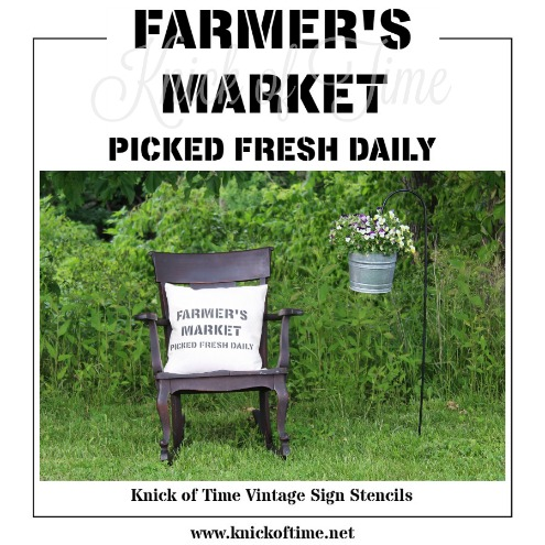FARMER'S MARKET stencil | part of Knick of Time's Vintage Sign Stencils for DIY home decor | www.knickoftime.net