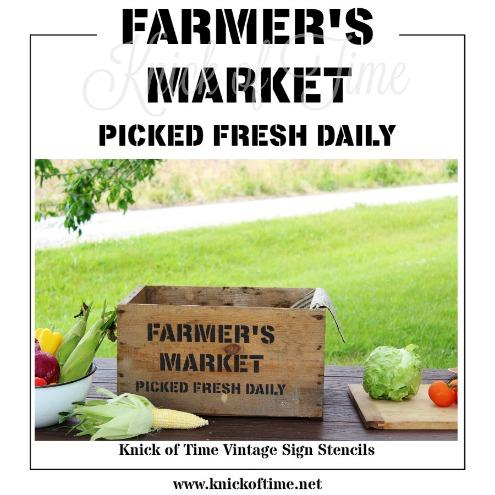 FARMER'S MARKET farmhouse style stencil from Knick of Time's Vintage Sign Stencils | www.knickoftime.net