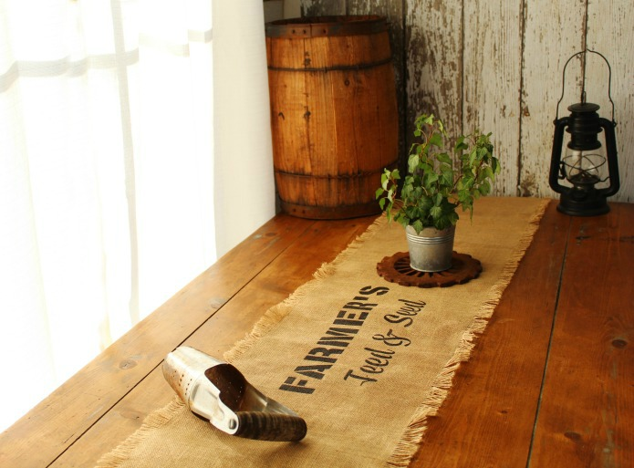 Rustic farmhouse style decor jute burlap farmhouse kitchen table runner stenciled with Vintage Sign Stencils | www.knickoftime.net