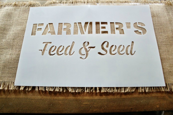 how to make a stenciled farmer's market rustic burlap farmhouse style table runner with Vintage Sign Stencils | www.knickoftime.net