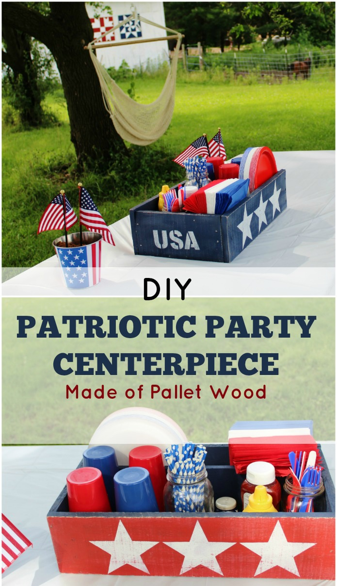DIY Patriotic Pallet Wood Picnic Table Centerpiece Tutorial | www.knickoftime.net