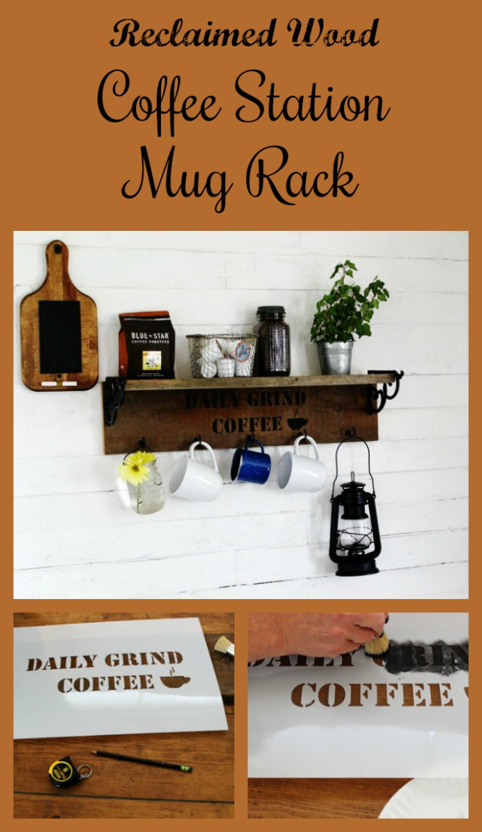 How to make a rustic coffee station mug rack with reclaimed wood using Knick of Time's Vintage Sign Stencils | www.knickoftime.net