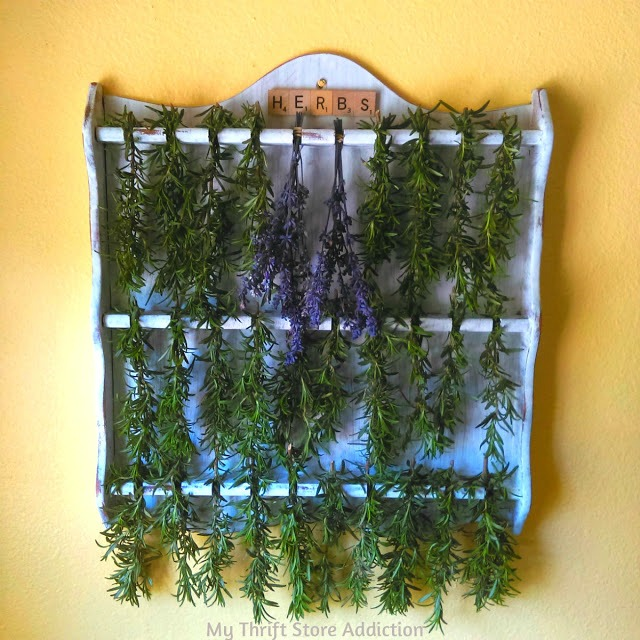Repurposed spoon display rack into herb drying rack featured at Talk of the Town at Knick of Time