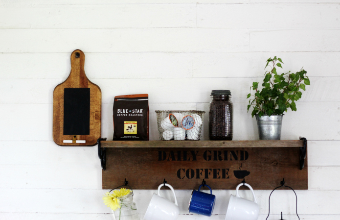 Rustic farmhouse kitchen coffee station shelf with repurposed vintage cutting board chalkboard | www.knickoftime.net