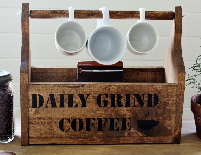 DIY Rustic Coffee Shop Wooden Storage Tote using Knick of Time's Vintage Sign Stencils | www.knickoftime.net