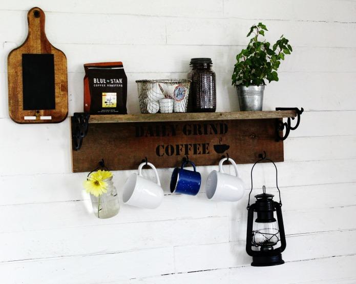 DIY farmhouse style coffee station mug rack and breadboard chalkboard | www.knickoftime.net