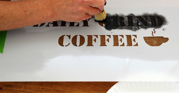 DIY rustic salvaged wood coffee sign with Knick of Time's Vintage Sign Stencils | www.knickoftime.net
