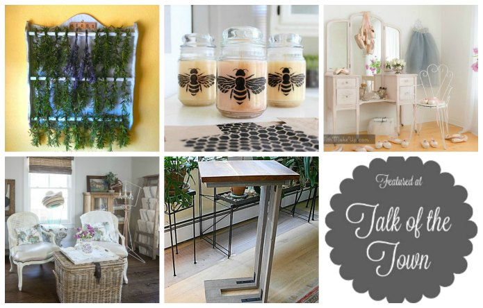 "This week's featured projects at Talk of the Town | vintage spoon display rack turned into an herb drying rack, stenciled candle jars, pretty pink vanity, basics of a beautiful guest room and how to build a ""C"" table 
