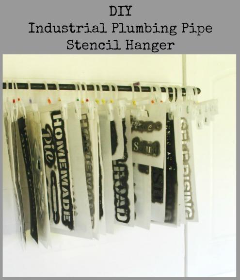 DIY Industrial Plumbing Pipe Stencil Storage Hanger | www.knickoftime.net