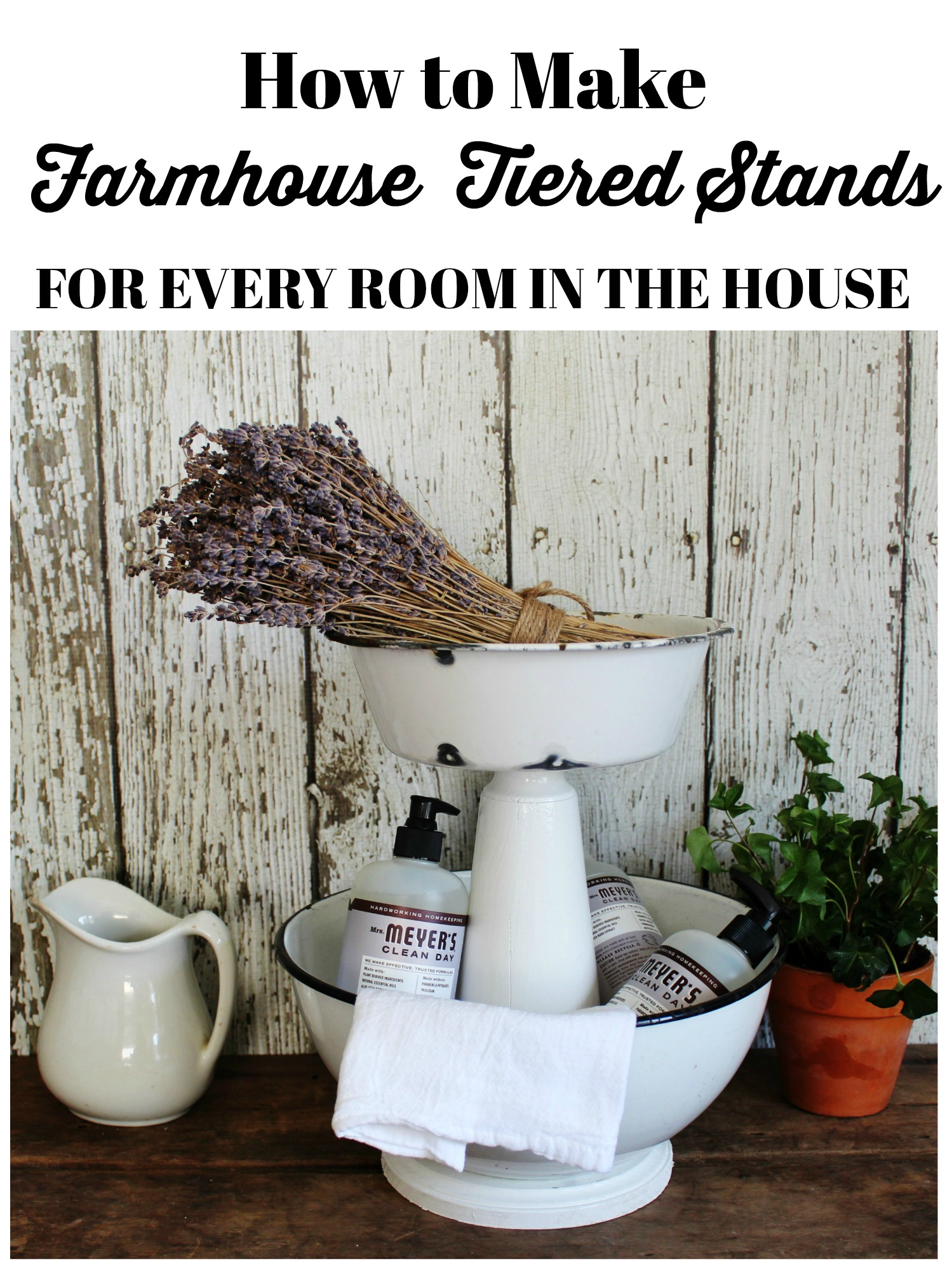 How to make Farmhouse Style Tiered Stands for the kitchen, bathroom and laundry room | www.knickoftime.net
