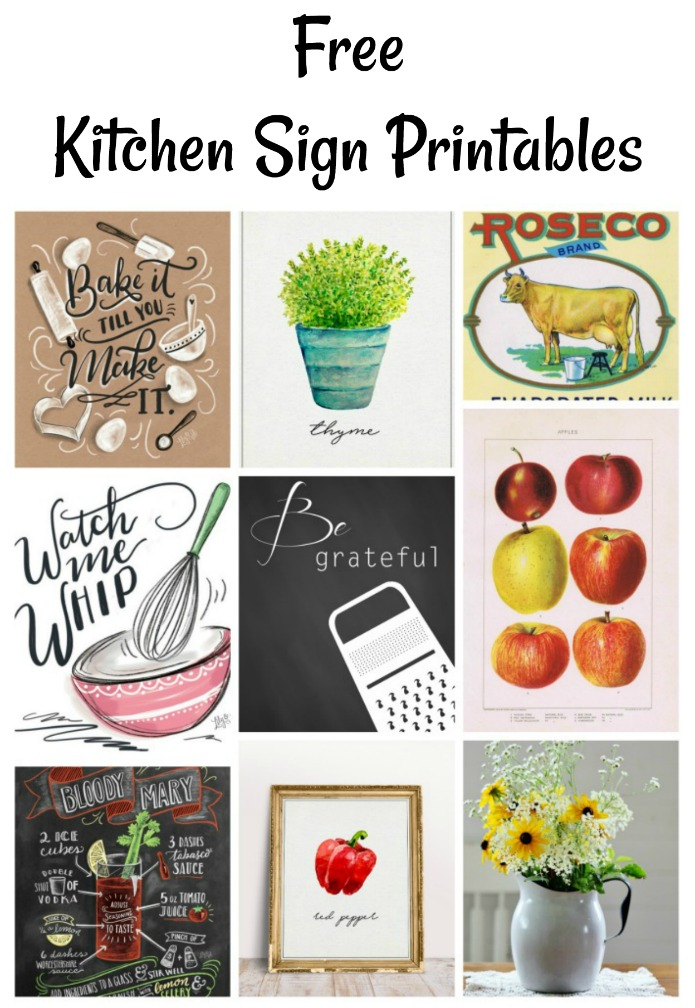 A collection of over 15 Kitchen Signs Printables | Instant decor - just click, print & hang! | Round up by www.knickoftime.net