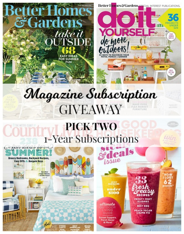 Magazine Subscriptions Giveaway Better Homes and Gardens magazine, DIY Do It Yourself magazine, Country Living magazine, Good Housekeeping magazine | www.knickoftime.net