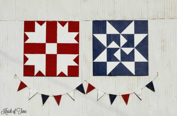 Rustic Barn Quilts and Farmhouse Patriotic Pennant Banner