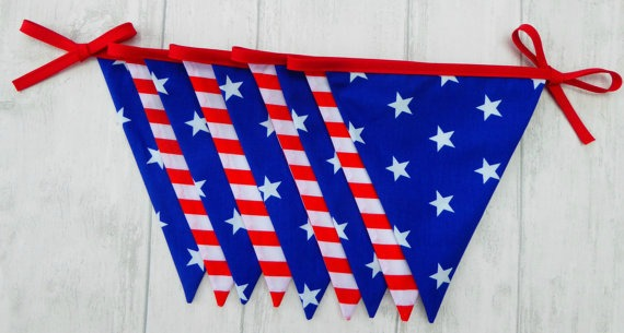 Stars and stripes red white and blue patriotic bunting