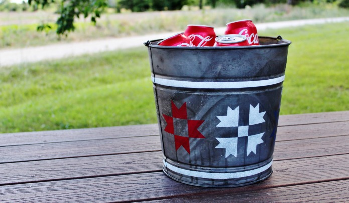 Red White and Blue Quilt Block Patriotic Beverage Cooler | www.knickoftime.net