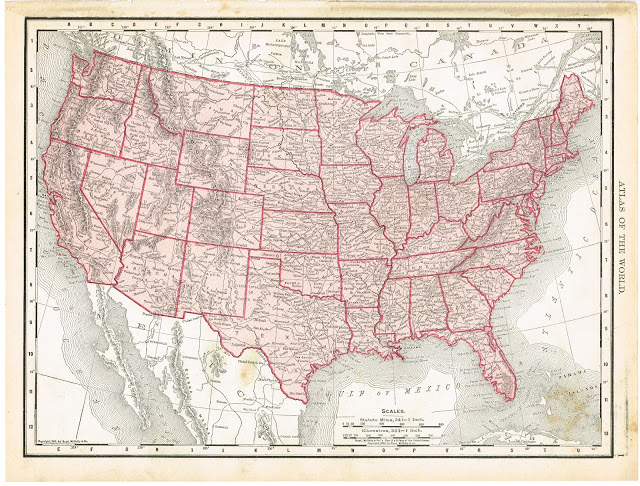 Free printable antique United States map | www.knickoftime.net