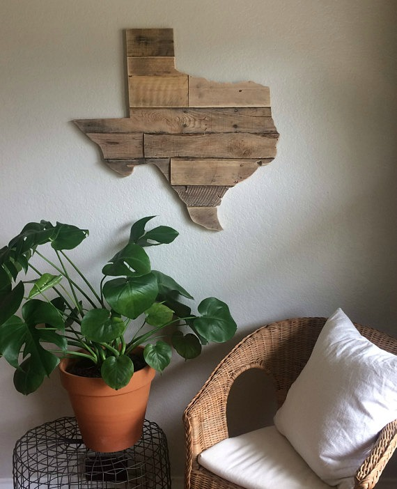 barn wood state shape reclaimed wood pallet sign wall art