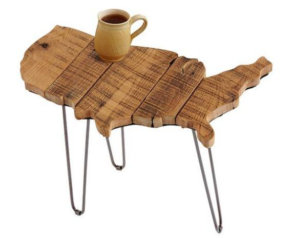 barn wood United States shape side table