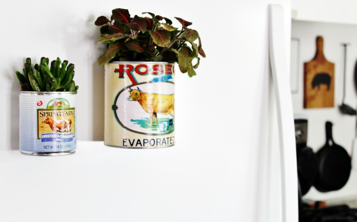 Easy DIY Magnetic Farmhouse Style Tin Can Planters | www.knickoftime.net