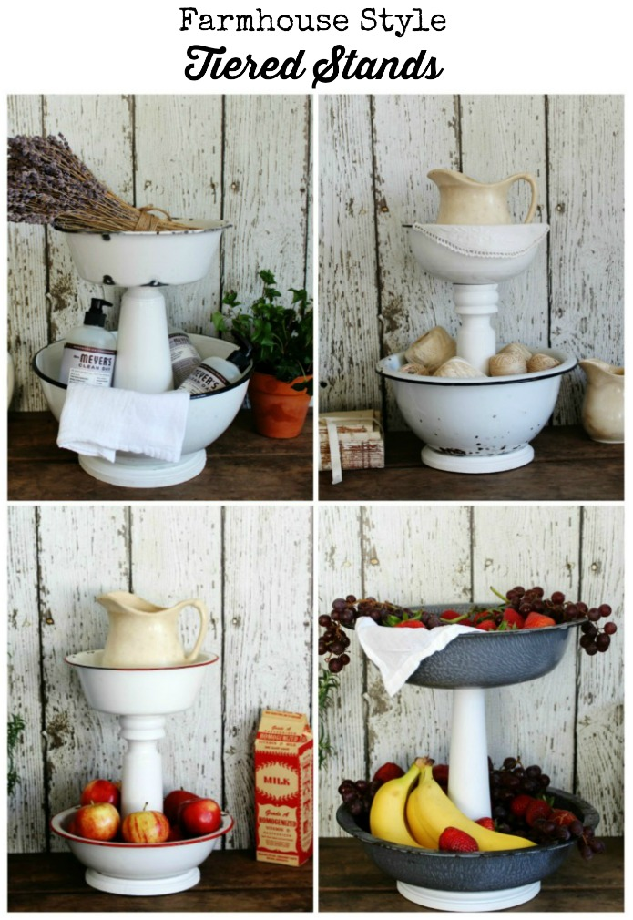 Farmhouse style tiered stands for the kitchen, bathroom and laundry room with DIY tutorial | www.knickoftime.net