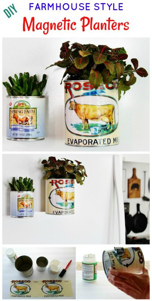 Turn turn cans into farmhouse style magnetic tin can planters | www.knickoftime.net