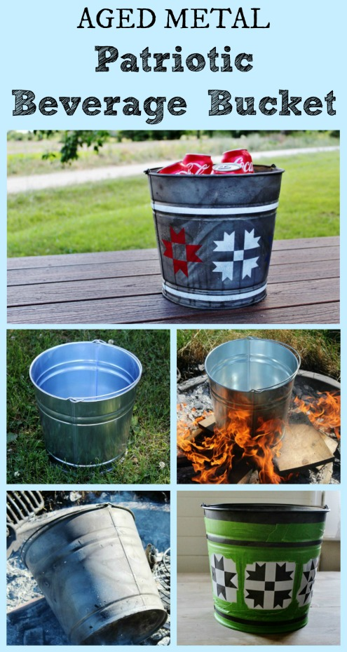 How to Make a Galvanized Bucket Patriotic Barn Quilt Beverage Cooler | www.knickoftime.net