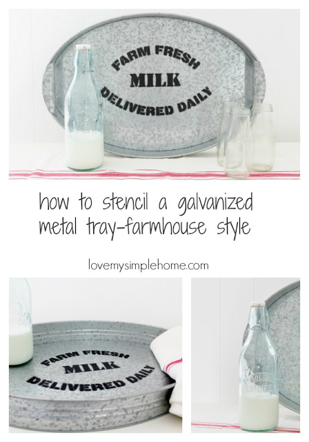 Stencil some farmhouse style on a plain tray in minutes! See how @ Love My Simple Home | http://www.lovemysimplehome.com