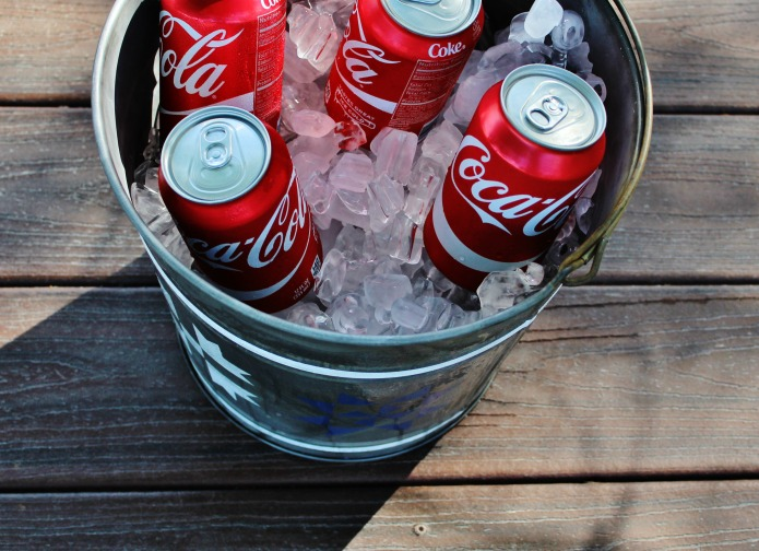 Soda Can Cooler ~ How to make galvanized metal look old patriotic barn