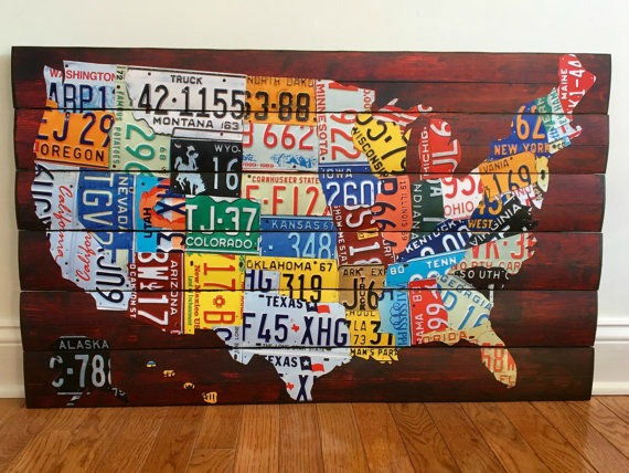 license plate united states wooden wall art