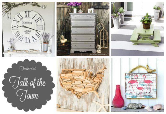 Oversize wood wall clock, Nail head trim furniture, Painted concrete floor, Driftwood United States map, Pink flamingo junk wall sign | featured at Talk of the Town #76 | www.knickoftime.net
