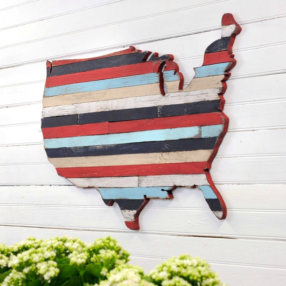 patriotic red, white and blue pallet map united states USA wall art
