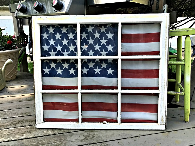 Turn an old window into a patriotic flag display! Learn how at Homeroad | http://www.homeroad.net