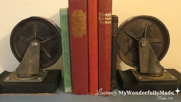 Repurposed industrial caster wheel bookends