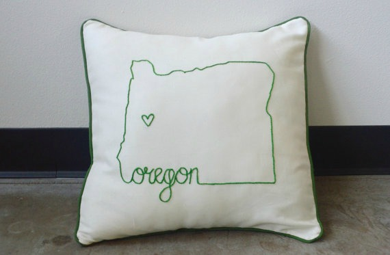 state shape embroidered throw pillow cover