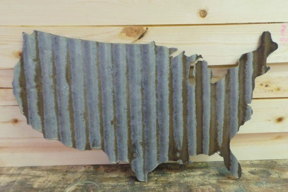 vintage corrugated metal barn tin United States patriotic decor